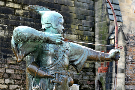 hood: Robin Hood statue at the Nottingham Castle, England Editorial