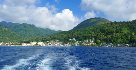 saint lucia: Panoramic view of the city of Soufriere in Saint Lucia, Caribbean