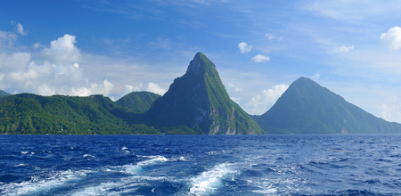 pythons: The Pitons are two volcanic mountains representative landmarks for Saint Lucia, Caribbean