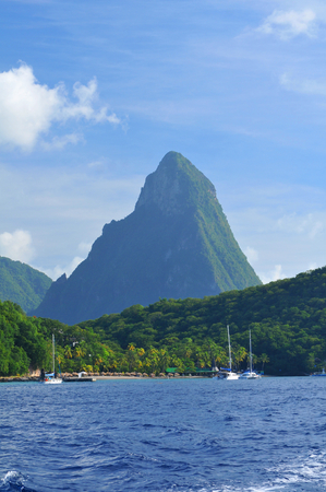 blue lagoon: The Pitons in Saint Lucia