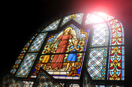 depicting: Stained glass depicting angel
