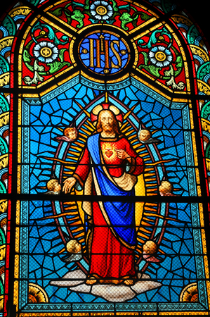 sacred heart: Jesus Christ stained glass window Editorial