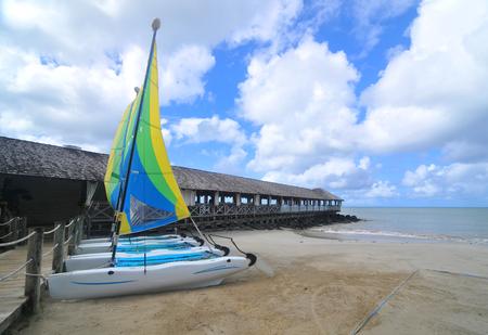 windsurfing: El equipo de windsurf en el exótico resort
