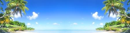 caribbean island: Tropical island horizontal banner