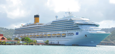 fortuna: SAINT LUCIA, CARIBBEAN - DECEMBER 10, 2014: Costa Fortuna cruise ship is sailing is anchored in Castries, Saint Lucia.