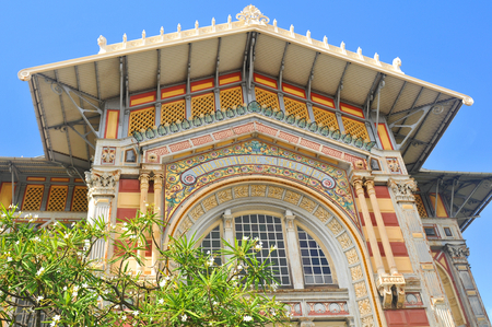 shipped: FORT-DE-FRANCE, MARTINIQUE - DECEMBER 16, 2014: Architectural detail of the Schoelcher library built in 1889 then shipped piece by piece to the island Martinique