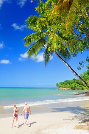 st lucia: SAINT LUCIA, CARIBBEAN - DECEMBER 10, 2014: Tourists walk along the beach in exotic resort in Saint Lucia, Caribbean Editorial