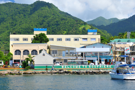 saint lucia: SAINT LUCIA, CARIBBEAN - DECEMBER 10, 2014: Panorama of the city of Soufriere in Saint Lucia, Caribbean