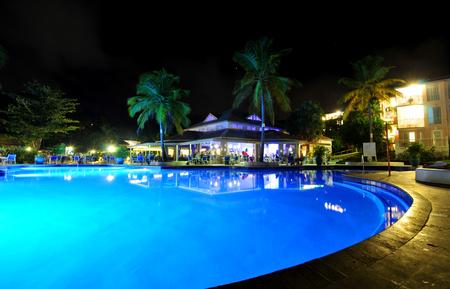saint lucia: SAINT LUCIA, CARIBBEAN - DECEMBER 10, 2014:  Tropical resort in Saint Lucia, Caribbean at night