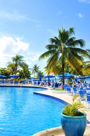 saint lucia: SAINT LUCIA, CARIBBEAN - DECEMBER 10, 2014:  Tourists relax in exotic resort in Saint Lucia, Caribbean