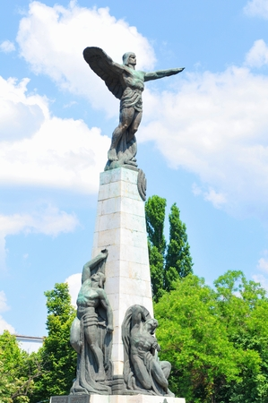icarus: Architectural detail of the Aviators monument in Bucharest depicting Icarus