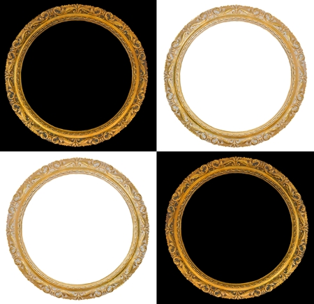 Old gold frames isolates on black and white