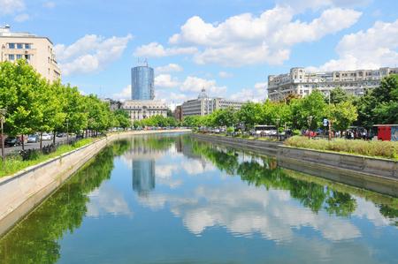 Dambovita river in Bucharest, Romania