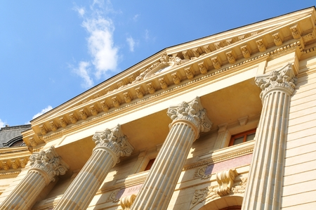 columns: Architecture of old building with columns