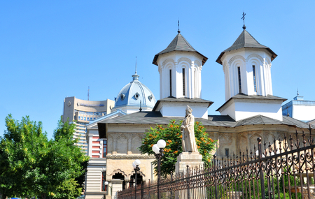 princely: Bucharest, Romania - June 24, 2015: Architectural detail of old Romanian church in Bucharest, Romania Editorial