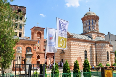 princely: BUCHAREST, ROMANIA - JUNE 24, 2015. Architectural detail of old Romanian church