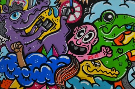 street art: Bucharest, Romania - June 23, 2015: Close up of street art graffiti on the streets of Bucharest