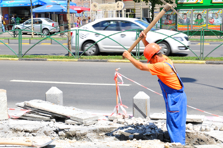 building safety: Bucharest, Romania - June 24, 2015: Construction works on the streets of the old town of Bucharest, Romania Editorial