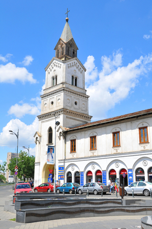 princely: Bucharest, Romania - June 24, 2015: Architectural detail of old Romanian church in the city centre of Bucharest, Romania