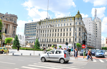 educational institution: Bucharest, Romania - June 23, 2015: Architectural panorama of the city centre of the Romanian capital city in summer
