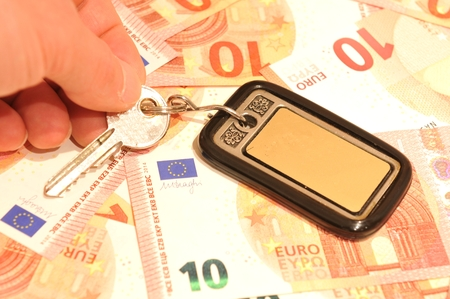 economic rent: Mortgage concept with euros Stock Photo