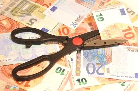 budget restrictions: Euro budget cut concept