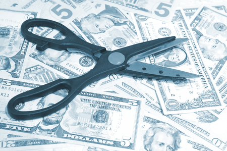 budget restrictions: Budget cut concept Stock Photo