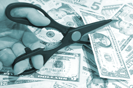 financial issues: Financial issues concept with US dollars Stock Photo