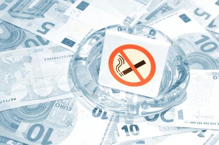 interdict: No smoking concept with euros Stock Photo