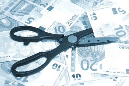 budget restrictions: Euro crisis inflation concept Stock Photo