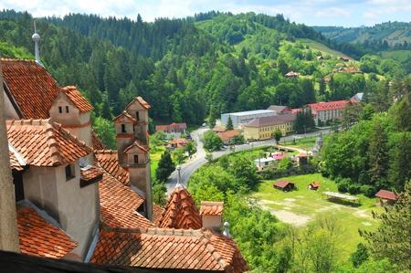 伝統: View of Transylvanian village in summer