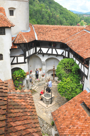 dracula: Bran, Romania - June 26, 2015: Architectural detail of the interior court of Dracula Castle in Bran, Brasov, Transylvania, Romania