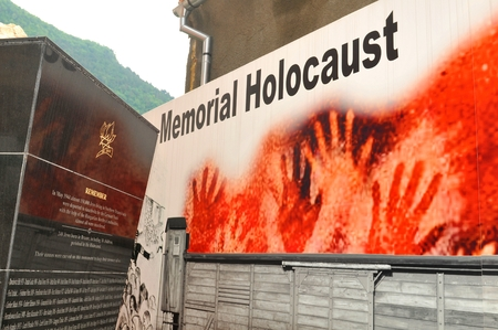 deportes: Brasov, Romania - June 28, 2015: Detail of the Holocaust Memorial in the city centre of Brasov, Romania