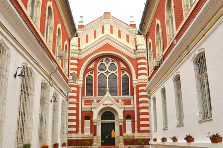 synagogues: Brasov, Romania - June 28, 2015: Architectural detail of the synagogue in Brasov, Romania Editorial