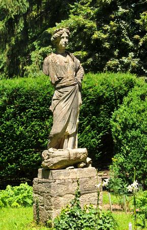 kolozsvar: Architectural detail of Roman statue in the park Stock Photo