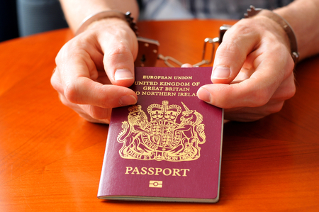 Illegal immigration concept with hands holding UK passport