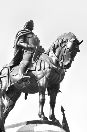 cluj: Matei Corvin statue in Cluj Napoca, Romania Stock Photo