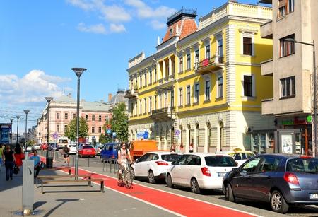 napoca: Cluj Napoca , Romania - July 2, 2015: Street view of the city centre of Cluj Napoca, a major city in the heart of Transylvania, Romania Editorial