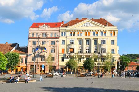 Cluj Napoca , Romania - July 2, 2015: Street view of the city centre of Cluj Napoca, a major city in the heart of Transylvania, Romania Editorial