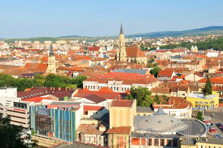 cluj: Cluj Napoca, Romania - July 2, 2015: Aerial view of Cluj Napoca, Romania