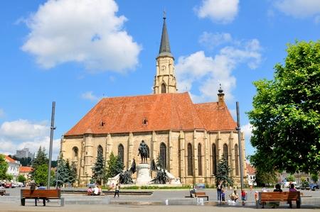 kolozsvar: Cluj Napoca, Romania - July 2, 2015: The Church of Saint Michael is an iconic Gothic-style Roman Catholic church in Cluj-Napoca.