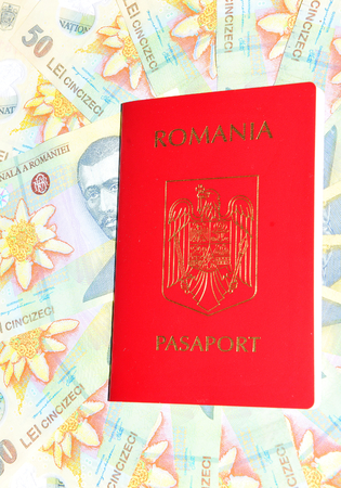 passport background: Romanian passport and currency