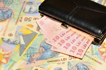 Close up of Romanian currency Stock Photo