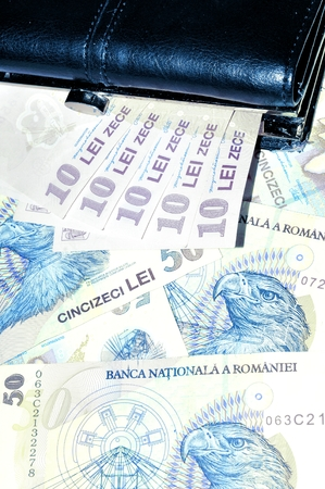 foreign national: Romanian currency lei background