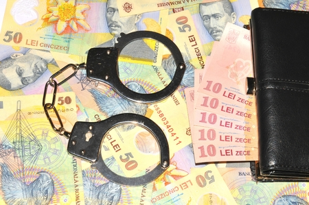 leu: Financial crime concept with Romanian currency lei background