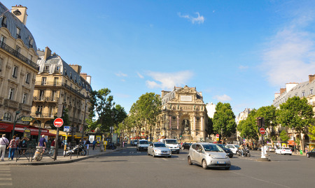 urbanism: Paris, France - July 7, 2015: Panorama of typical street in central Paris, France Editorial