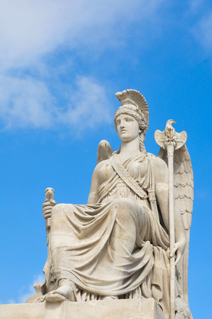 Architectural detail of roman statue in Paris, France