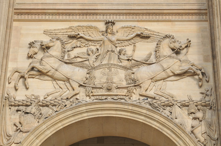 french renaissance: Paris, France - July 8, 2015: Architectural detail of the Louvre Museum, major landmark in the French capital city and worldwide