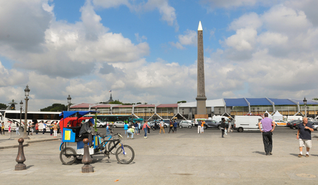concorde: Paris, France - July 8, 2015: Panorama of Place de la Concorde before the national day of France in Paris Editorial
