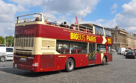 doubledecker: Paris, France - July 8, 2015: Tourists sighseeing Place de la Concorde from tourist bus